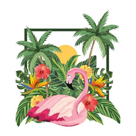 tropical flamingo cartoon vector illustration graphic design