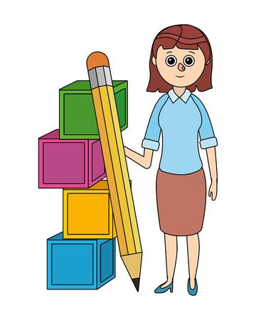 school teacher with classroom elements cartoon vector illustration graphic design