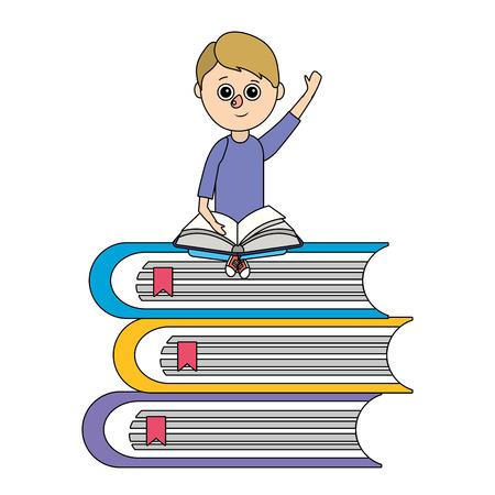 school student boy with books cartoon vector illustration graphic design
