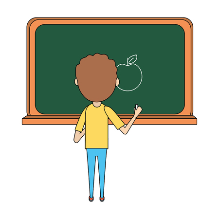 school student boy writing in the board cartoon vector illustration graphic design