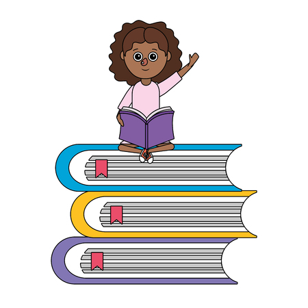 school student girl with books cartoon vector illustration graphic design
