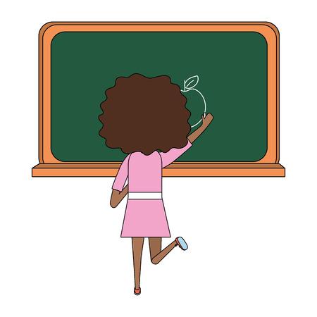 school student girl writing in the board cartoon vector illustration graphic design Иллюстрация