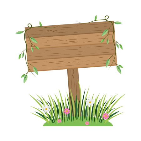wooden sign cartoon vector illustration graphic design