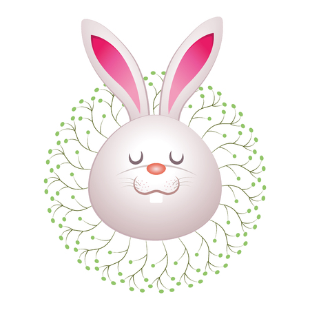 cute rabbit with nature leaves cartoon vector illustration graphic design