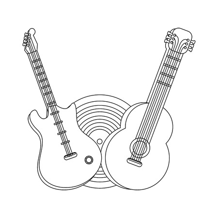 music elements guitars cartoon vector illustration graphic design