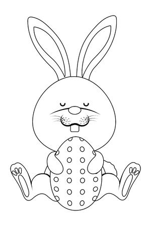 easter rabbit with egg cartoon vector illustration graphic design Vector Illustration
