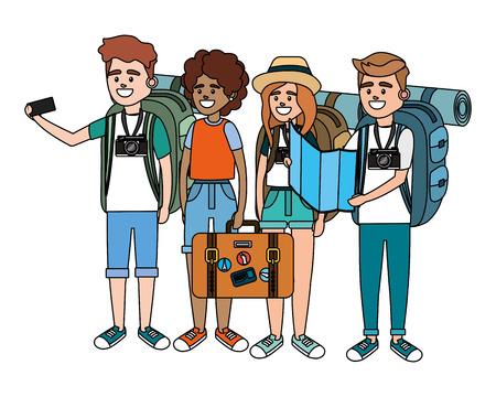 Diseño gráfico del ejemplo del vector de la historieta del grupo de la gente turística