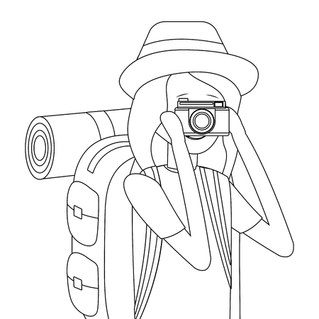 tourist woman with camera taking photo cartoon vector illustration graphic design