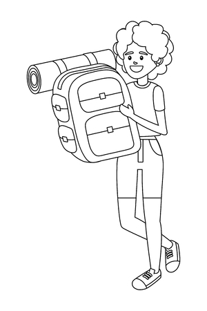 tourist woman with backpack cartoon vector illustration graphic design