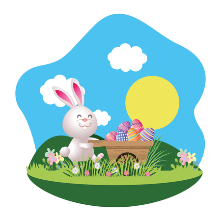 bunny with easter egg in wooden wheelbarrow in parkscape vector illustration graphic design Illustration