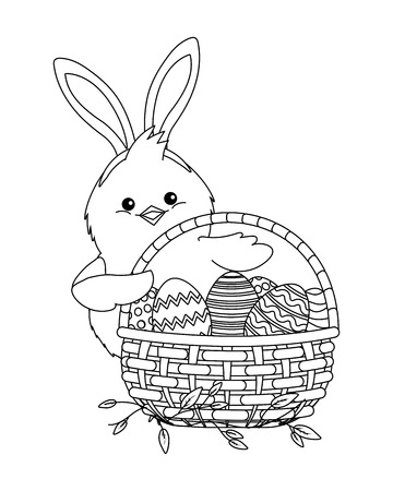 chick with bunny ears and easter eggs in wicker basket vector illustration graphic design Illusztráció