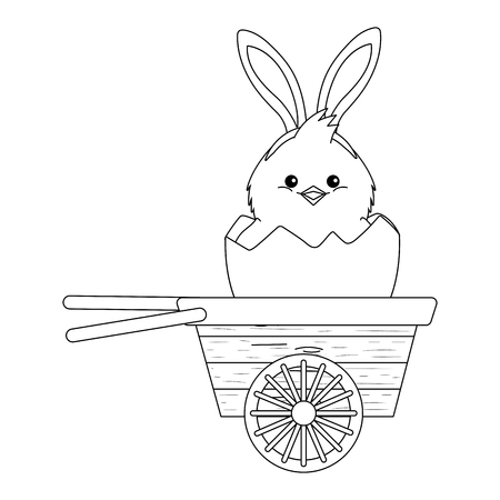 chick with bunny ears and eggshell in wooden wheelbarrow vector illustration graphic design Çizim