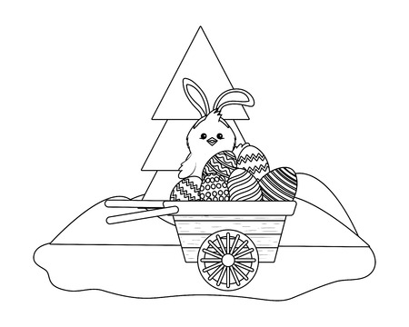chick with bunny ears and easter eggs in wooden wheelbarrow in parkscape vector illustration graphic design Illustration