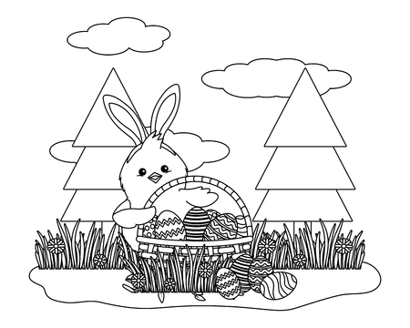chick with bunny ears and easter eggs in wicker basket in parkscape vector illustration graphic design