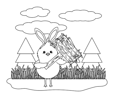 chick with bunny ears and wooden sign in parkscape black and white vector illustration graphic design