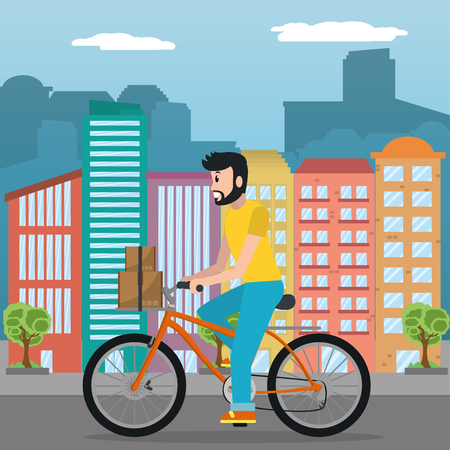 young man riding bicycle for fast delivery service in front of city buildings cartoon vector illustration graphic design Illustration