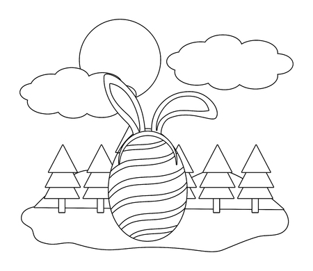 easter egg with bunny ears in parkscape black and white vector illustration graphic design