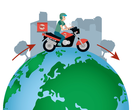 young man riding scooter for fast delivery service around the globe cartoon vector illustration graphic design
