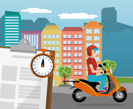 young man riding scooter for fast delivery service with city buildings cartoon vector illustration graphic design