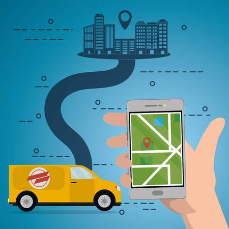 hand holding mobile phone and yellow van for fast delivery service with city map cartoon vector illustration graphic design Illustration