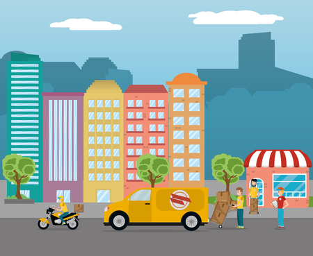 delivery service men loading yellow van with packages in front city buildings cartoon vector illustration graphic design Illustration