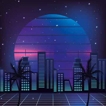 cityscape retro style