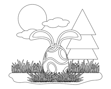 easter egg with bunny ears in parkscape vector illustration graphic design