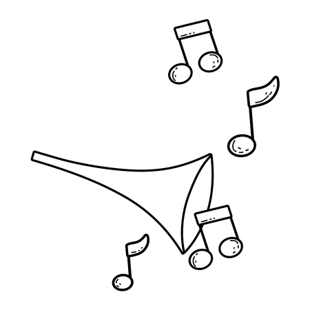 cute trumpet with music notes vector illustration design
