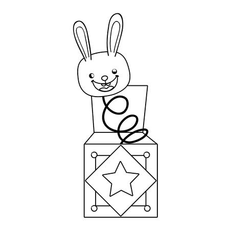 fools day surprise box with rabbit head vector illustration design Иллюстрация