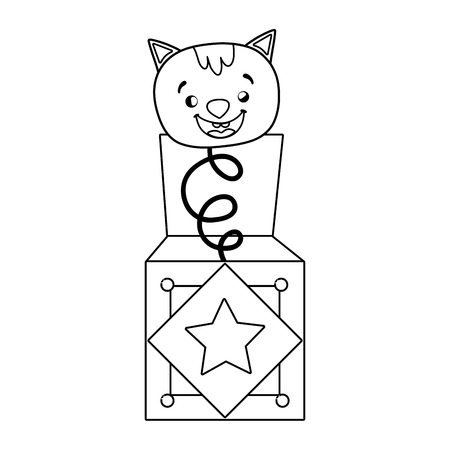 fools day surprise box with cat head vector illustration design Иллюстрация