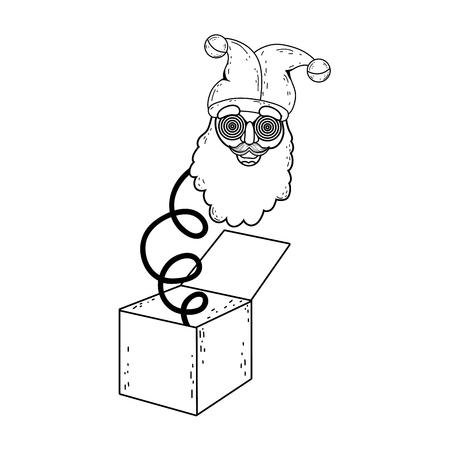 fools day surprise box with elf head vector illustration design