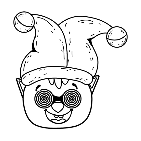 pig crazy with glasses and joker hat fools day character vector illustration design