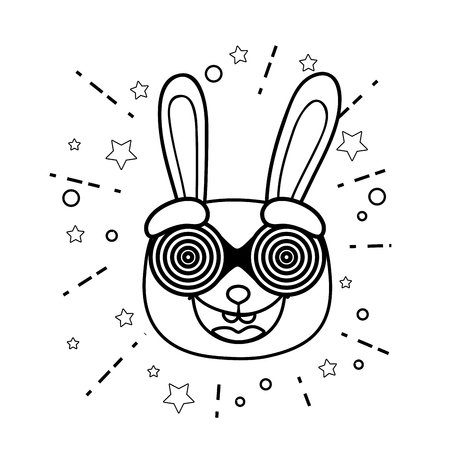 rabbitt crazy with glasses spiral fools day character vector illustration design