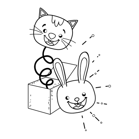 fools day surprise box with cat head vector illustration design Ilustrace