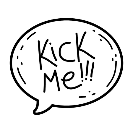 kick me message fools day vector illustration design Archivio Fotografico - 124900201