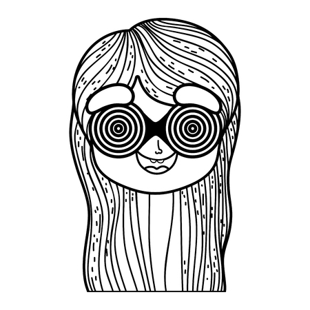 little girl with spiral glasses fools day celebration vector illustration design