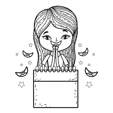 girl with fools day surprise box vector illustration design