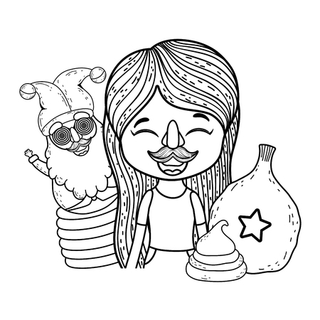 little girl with nose and mustache mask fools day celebration vector illustration design Vector Illustration