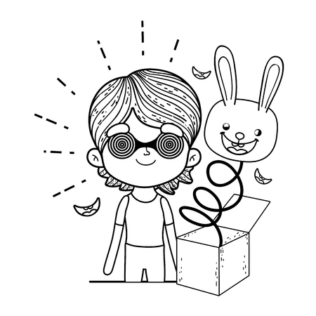 little boy with fools day surprise box and rabbit head vector illustration design Ilustrace