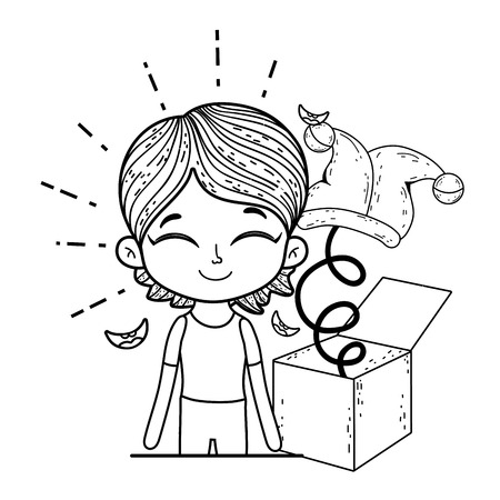 boy with fools day surprise box and joker hat vector illustration design Ilustrace