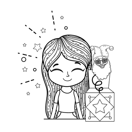 little girl with surprise box and elf head vector illustration design