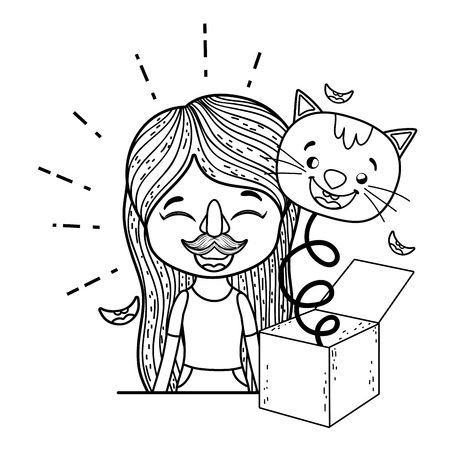 girl with fools day surprise box and cat head vector illustration design Archivio Fotografico - 117713155