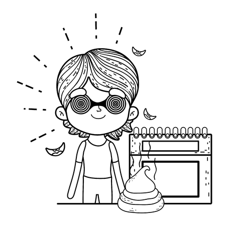 little boy with spiral glasses and calendar vector illustration design
