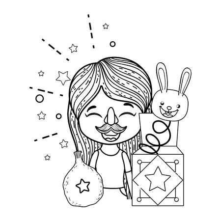 little girl with fools day surprise box and rabbit head vector illustration design Иллюстрация