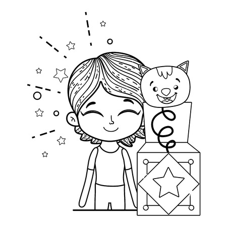 boy with fools day surprise box and cat vector illustration design
