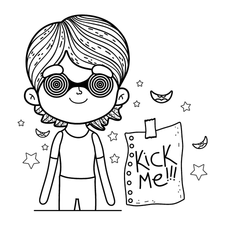 little boy with spiral glasses fools day celebration vector illustration design Ilustrace