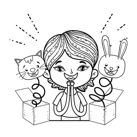 boy with fools day surprise boxes and cat vector illustration design