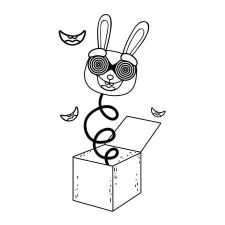 fools day surprise box with rabbit head vector illustration design Ilustrace