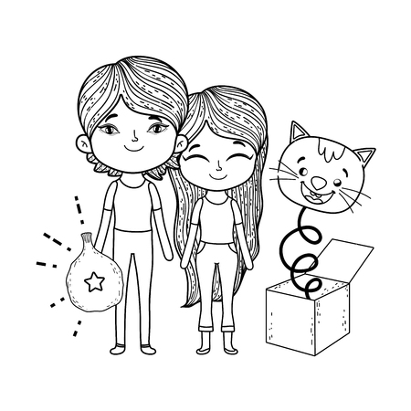 little kids with fools day surprise box and cat head vector illustration design
