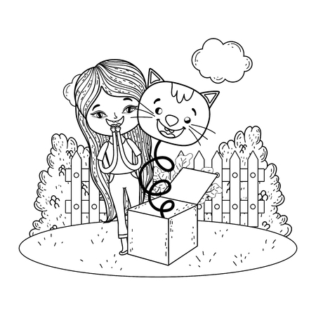girl with fools day surprise box and cat head in the field vector illustration design